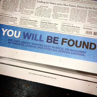 """Dear Evan Hansen """"…will be found"""" all across the country. The national tour just opened!"""