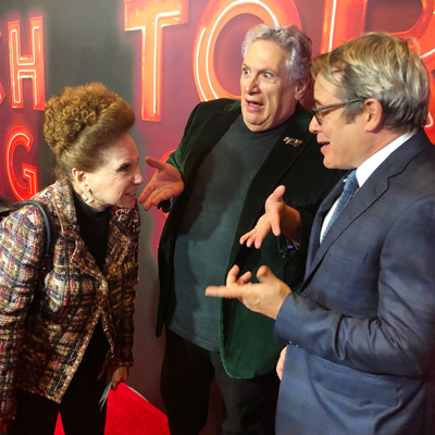 "Only on a New York Red Carpet….Harvey Fierstein, Cindy Adams, and Matthew Broderick at the Opening Night of ""HARVEY FIERSTEIN'S TORCH SONG""!"