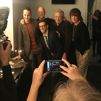 The Torch Song Cast assisting Jordan Roth in lighting the menorah at the 92Y after their exciting conversation about the show!
