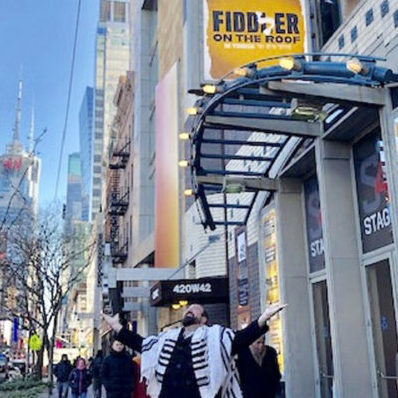 """Fiddler on the Roof in Yiddish"" marquee goes up at Stage 42"