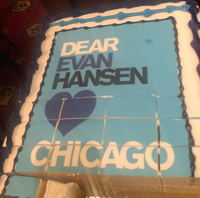 """""""Dear Evan Hansen""""tour opening in Chicago. (Blue) Cake, please!"""