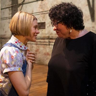Justice Sotomayor shares a moment with Celia Keenan-Bolger after Mockingbird