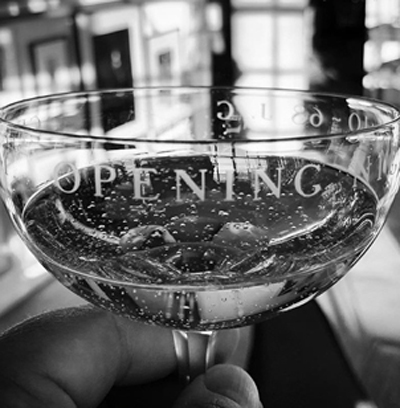 "A toast to ""Fiddler"" in Joel Grey's Tiffany & Co. glasses from opening night of ""George M"""