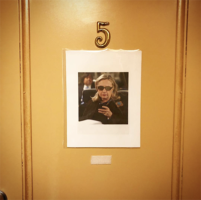 "Backstage at Lucas Hnath's ""Hillary and Clinton"", dressing rooms are clearly marked…"
